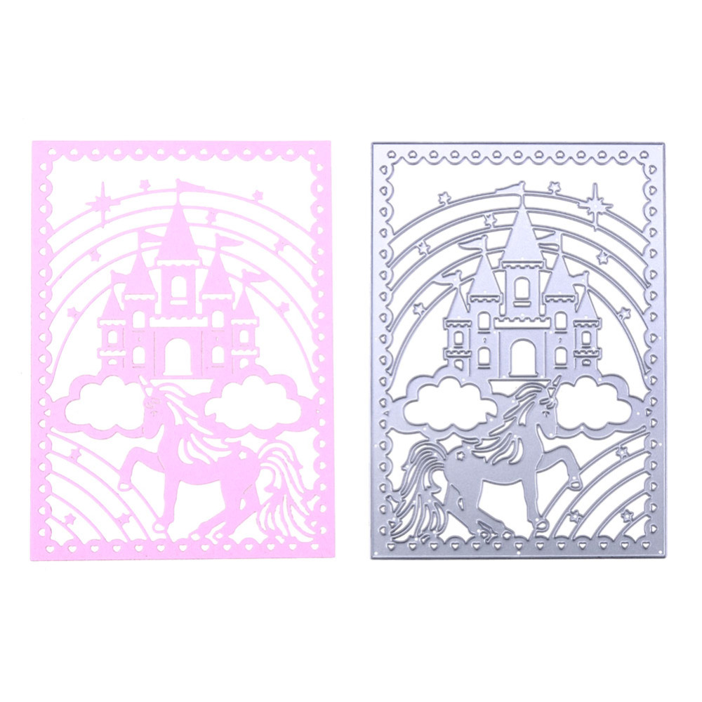 Metal Cutting Dies Castle Unicorn Horse Rectangle Frame Design Embossing Dies Cuts for DIY Scrapbooking Album Paper Cards CraftsMetal Cutting Dies Castle Unicorn Horse Rectangle Frame Design Embossing Dies Cuts for DIY Scrapbooking Album Paper Cards Crafts