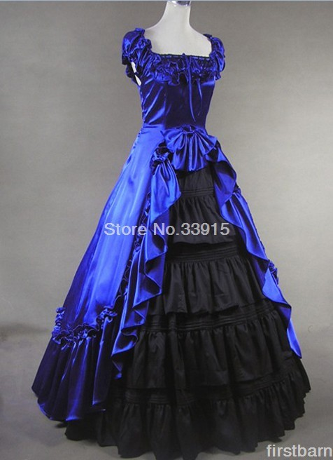 Cheap Elegant And Graceful Blue Short Sleeve Gothic Vitorian Dress Halloween And Christmas Long Lolita Rococ Dress Costume