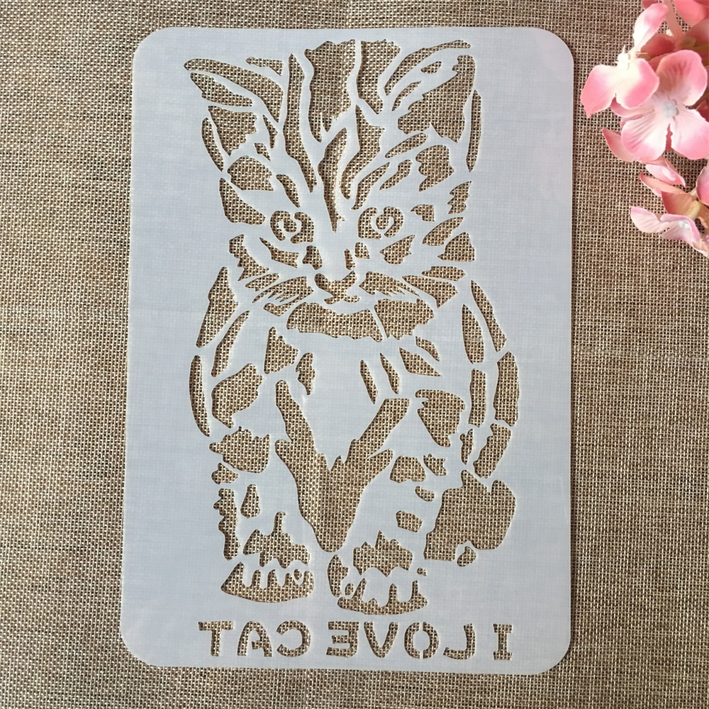 18*26cm Sit Down Cat I Love Cat DIY Layering Stencils Painting Scrapbook Coloring Embossing Album Decorative Card Template