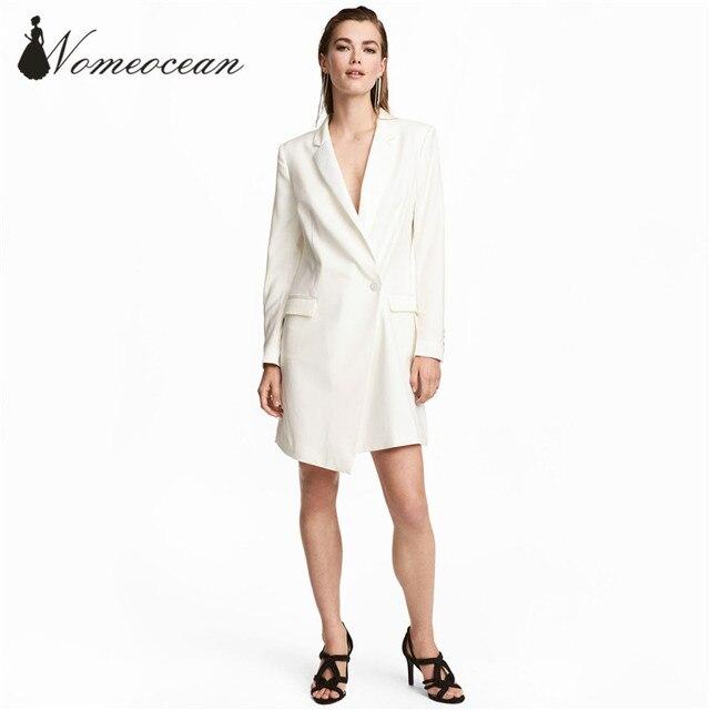 Elegant Blazer Design Women Dresses One Button Wrapped Suit Dress