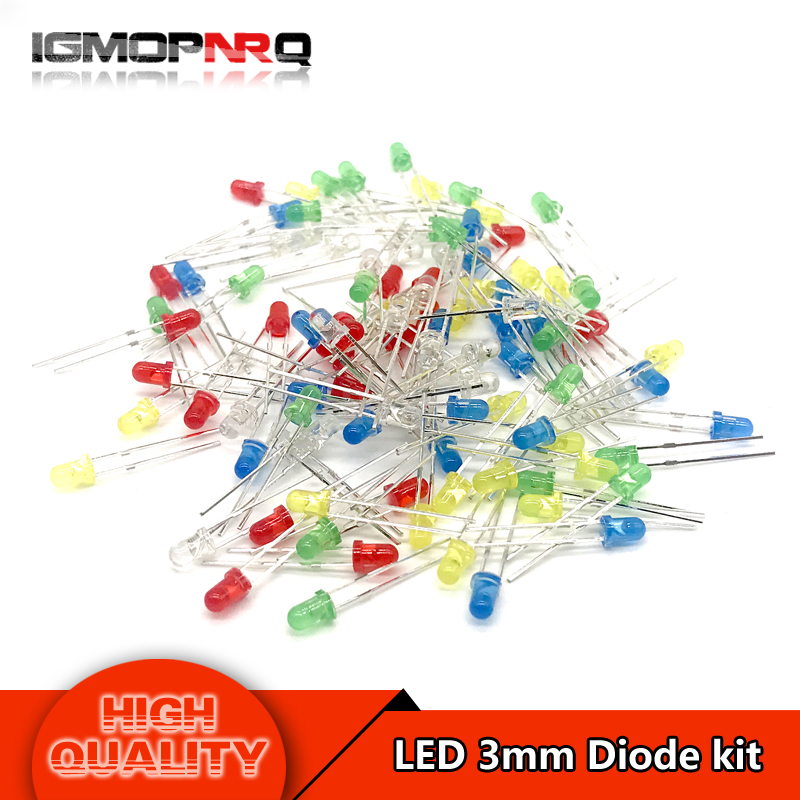 5Colors*20PCS=100PCS 3mm LED diode Light Assorted Kit Red Green Yellow Blue White Mixed Color light LED MIX(China)