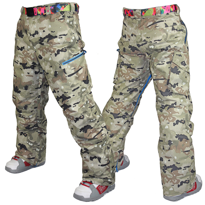 2015 Gsou snow mens gray camouflage ski pants outdoor skiing pants snowboard trousers thermal waterproof windproof breathable