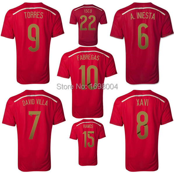 1ddde62e9 2014 Wold Cup Spain Jersey Iniesta Xavi Mata Spain soccer jersey football  jersey Spain soccer shirt Espana football jerseys