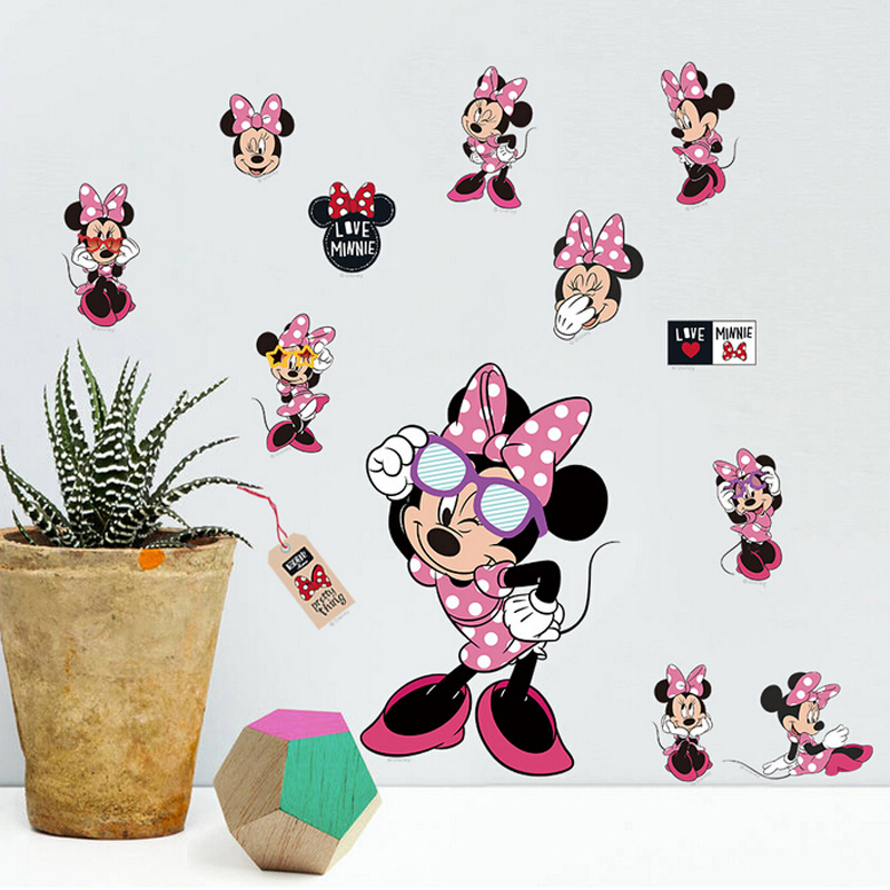 Kids room mickey mouse wall stickers home decor removable DIY cartoon kindergarten nursery wall decals in Wall Stickers from Home Garden