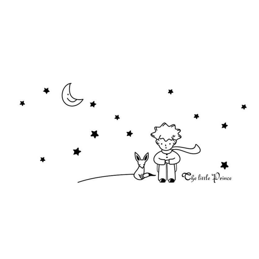 2018 High Quality 3 Colors Stars Moon The Little Prince Boy Wall Sticker Home Decor Wall Decals Dropshipping 035 wh