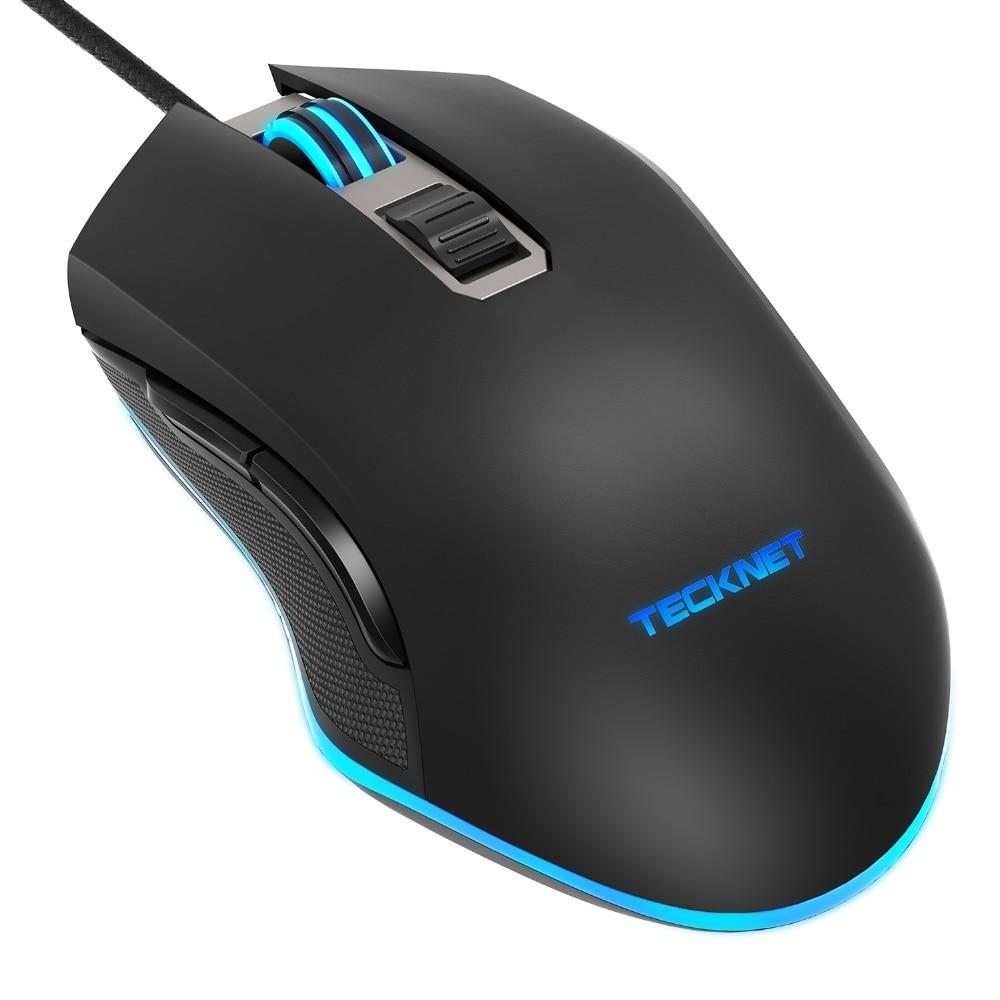 TeckNet Gaming Maus 7200 dpi Programmierbare Maus Wired PC Computer Gaming Mäuse mit 6 Tasten, 5 dpi Einstellbar Ebenen