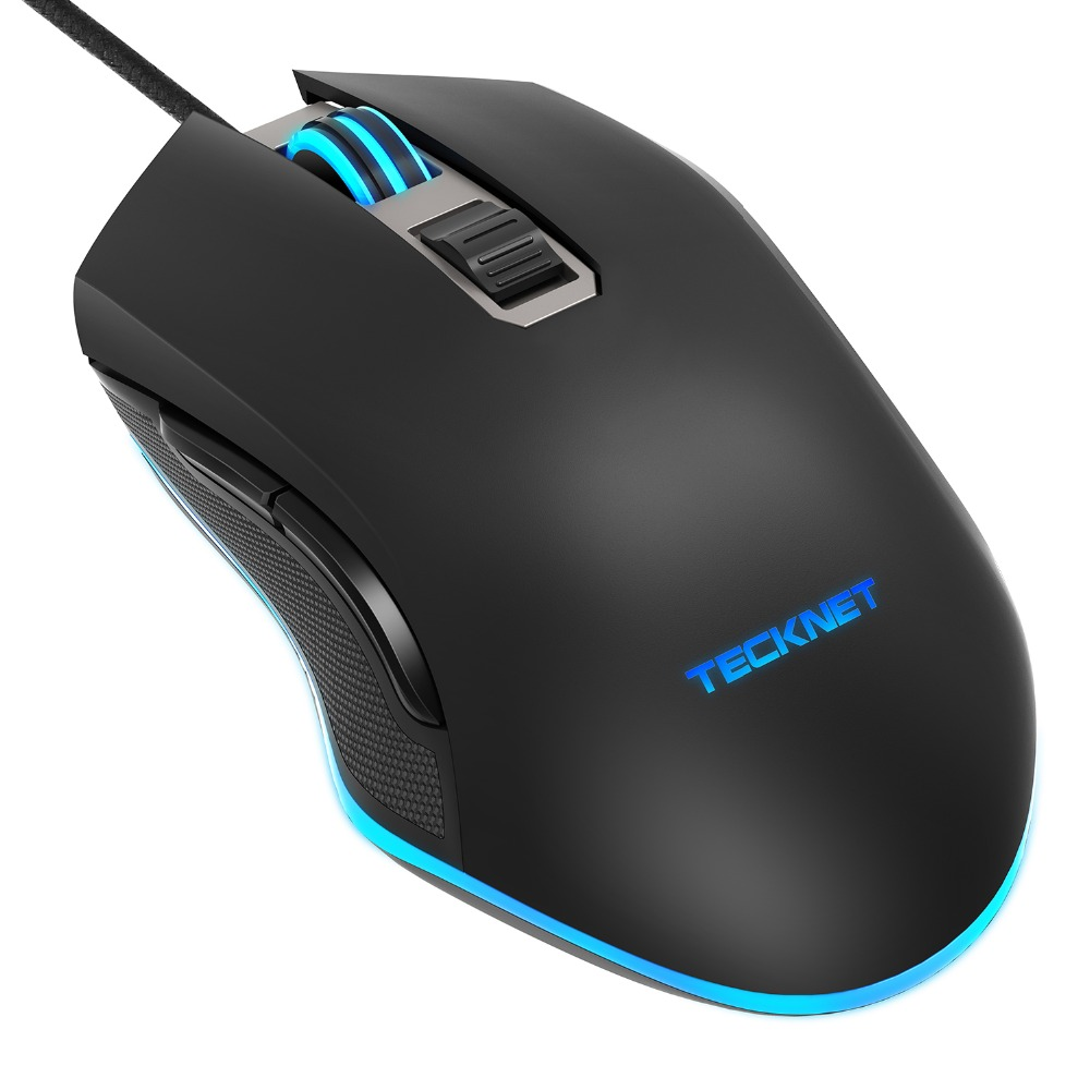 TeckNet Gaming Mouse 7200DPI Programmable Mouse Wired PC Computer Gaming Mice with 6 Buttons, 5 DPI Adjustable Levels sunsonny t m30 usb wired 6 button 600 1000 1600dpi adjustable led gaming mouse golden red