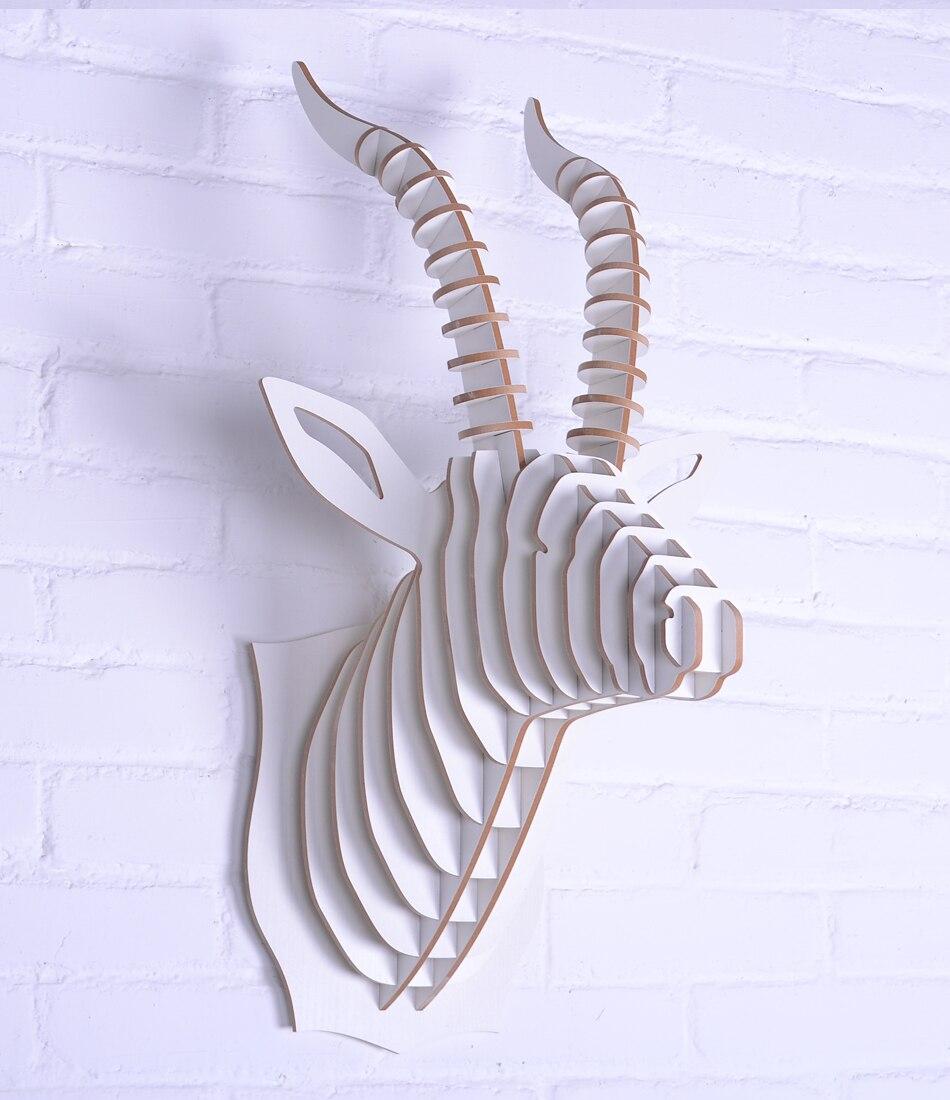 Cadeaux de nouveauté NODIC en bois artisanat tête de chèvre ornement décoration de la maison, Europe bricolage 3D sculpté tête d'animal suspendus décoration murale