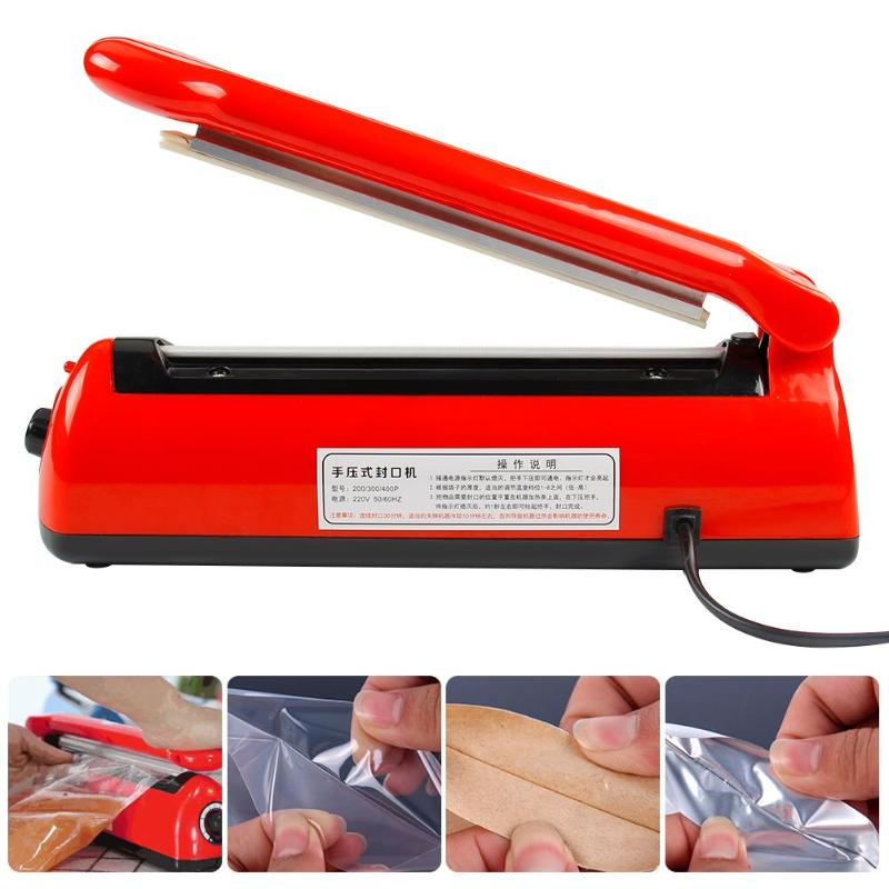 Automatic Heat Sealing Impulse Manual Sealer Plastic Bag Sealing Machine 300w Type 200 Eu Plug With Spare Heating Wire