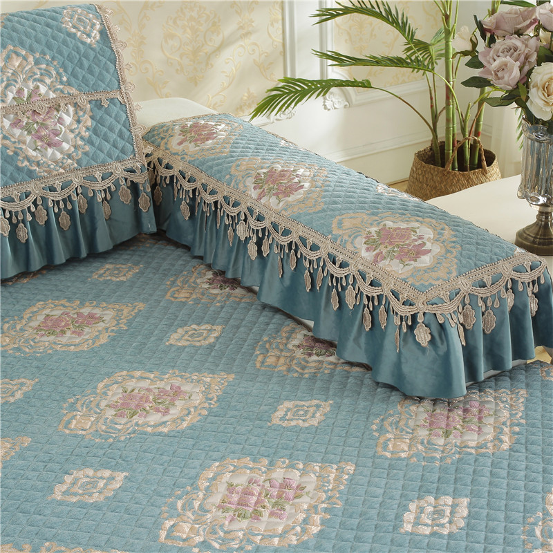 SLOWDREAM Euro Sofa Cover Couch Light Blue Luxury Lace Sofa Living Room Modern Plaid Corner Sofa Lower Pile Cushion Seat Covers in Sofa Cover from Home Garden