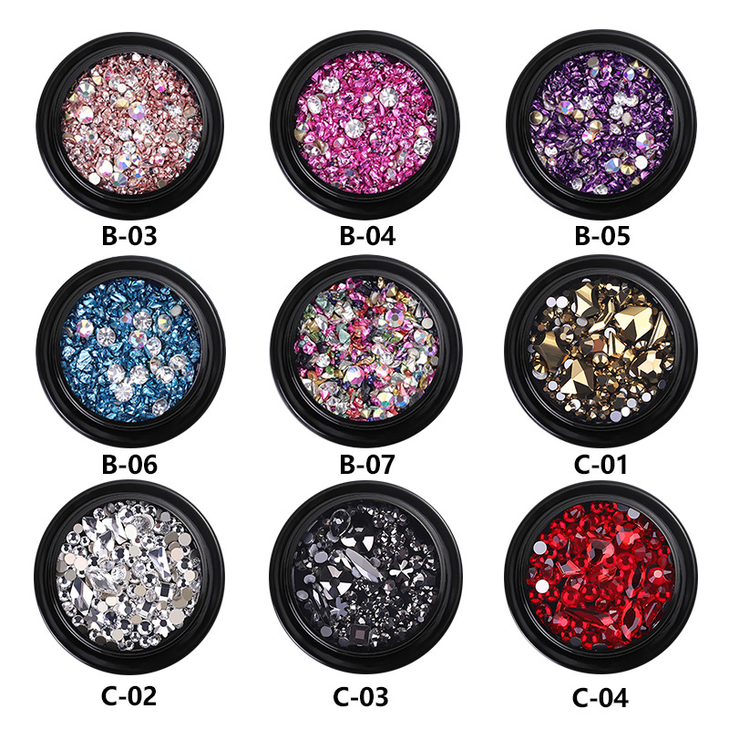 1 Box Multi Size Super Shiny Nail Art Rhinestones Glass Gems Stones Beads for Nails Decoration Crafts Eye Makeup Clothes Shoes in Rhinestones Decorations from Beauty Health