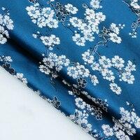 Новая мода Индиго цветок сливы атласной шелковой ткани для пэчворка, торжественное платье, ткань обивки дивана Скрапбукинг на метр