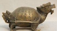 """5 """"Chiński Miedzi długowieczność Shou Sea Dragon Żółwia Żółw Statua Rzeźby S0706 w Posągi i rzeźby od Dom i ogród na"""