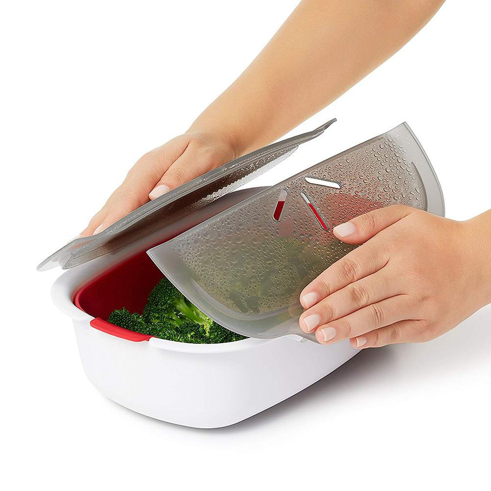 Monokweepjy Microwave Steamer Basket Safe Non-toxic Fish Food Microwave Oven Steamer Steaming Dish Kitchen Hot Dish Supplies