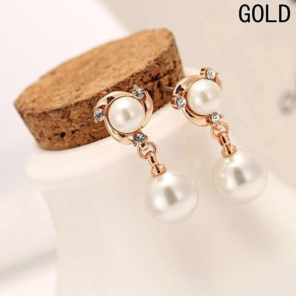 Vintage Long White Pearl Tassels Earrings For Women Fashion Female Party Crystal Earring Set Gold-Color Fine Jewelry