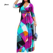 High 2018S-5XLQuality New Fashion Designer Maxi Dress Womens half Sleeve deep v neck Printed Celebrity Party Long D2264