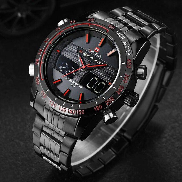 0fedcdb3468 NAVIFORCE Mens relógios top Marca de Luxo Relógio de Quartzo Ocasional Dos  Homens Aço Inoxidável Relógio