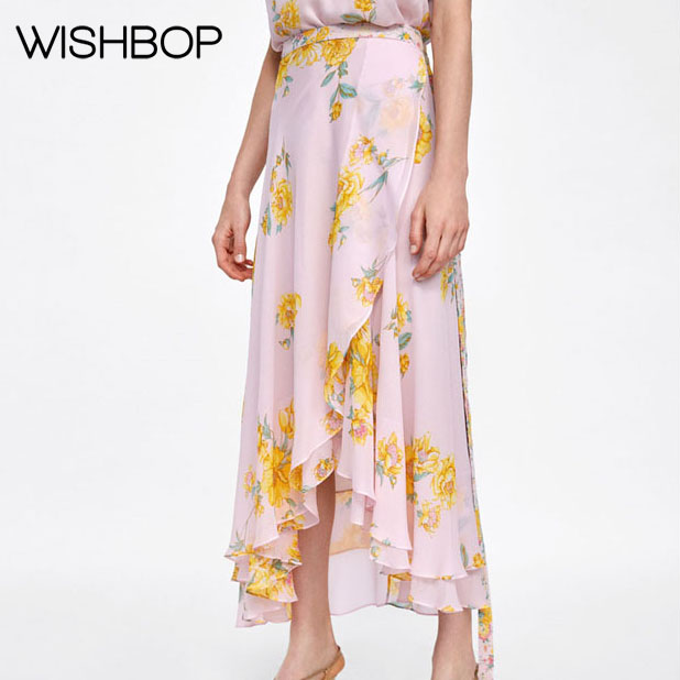 770e67c97c 2018 Summer New Women Pink Floral Print Flowing Midi Skirt Features  Asymmetric Ruffle Hem - Ladies Wrap Skirt Matching Tie Belt