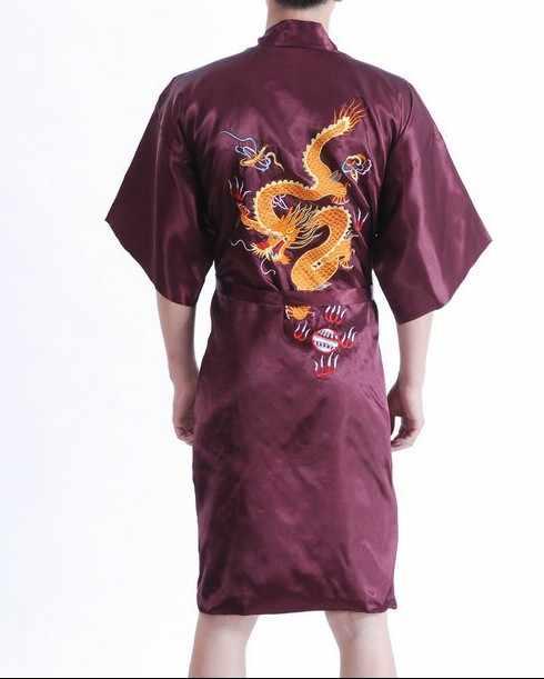 ブルゴーニュ中国の伝統的な男性シルクサテンローブ刺繍ドラゴン着物入浴ガウンナイトウェアサイズ SML XL XXL XXXL MP003