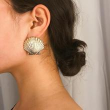 Shell Stud Earrings Retro Simple Frosted For Women Jewelry Boho Style Fashion Bohemian Big Earring