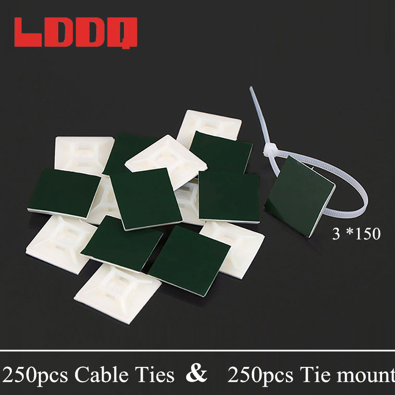 LDDQ Cable Tie Mount Mounting Base Clamps Clip Self Adhesive Cable Wire Zip Tie 250pcs Ties and 250pcs Mounts Plastic Nylon adjustable cable tie mounts hss22 90 stick type wiring holder wire and a package 100