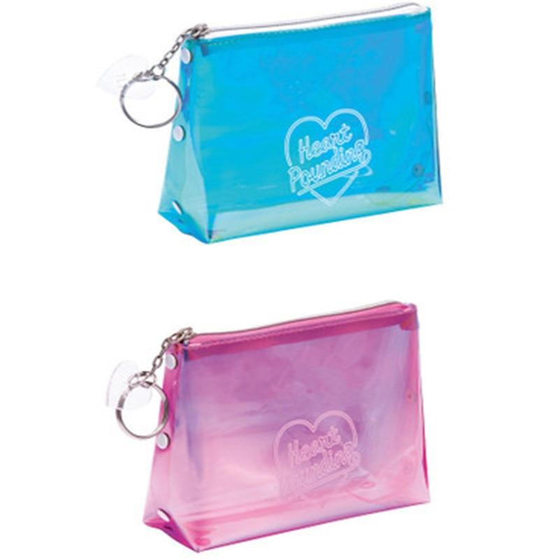 Women Portable Letter Print Laser Transparent PVC Cosmetic Bag Travel Storage Pouch Makeup Bags 10