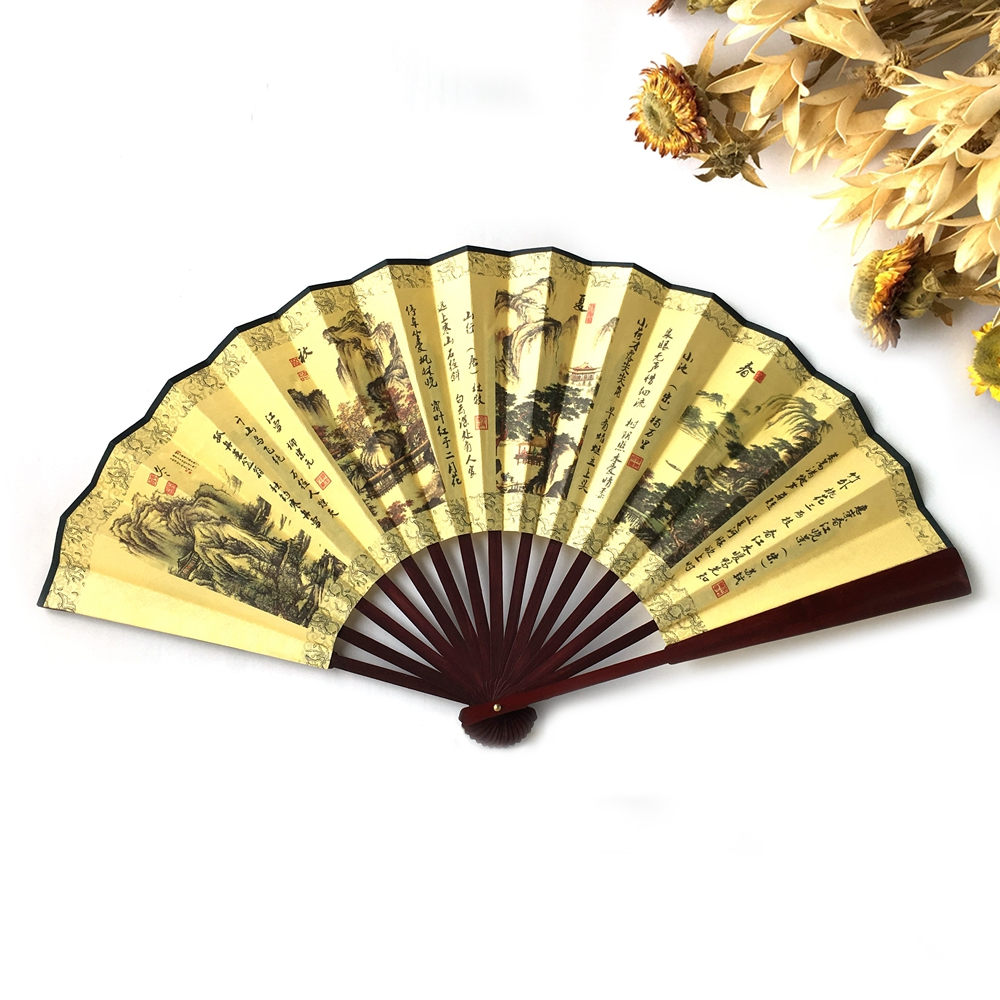 Gratis frakt 1pcs GSFY-Men Women Wood Håndtak Fabric Folding Hand Fan 13-tommers lengde Gul