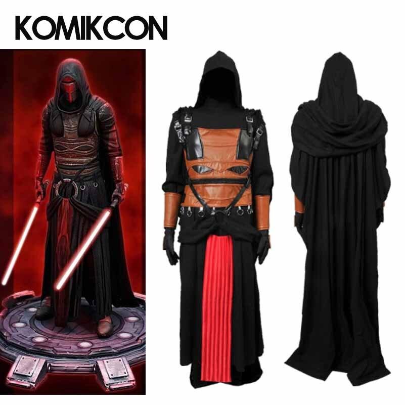 Star Wars Robe Darth Revan Jedi Cosplay Costume Noir Cape Tunique Halloween Manteau à capuche Tenue pour Homme Adultes Custom Made