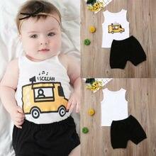Newborn Infant Baby Girl Clothes White Cartoon Car Sleeveless Top With Letter+Black T-Shirt Shorts Summer Baby Boys 2pcs Set цены онлайн
