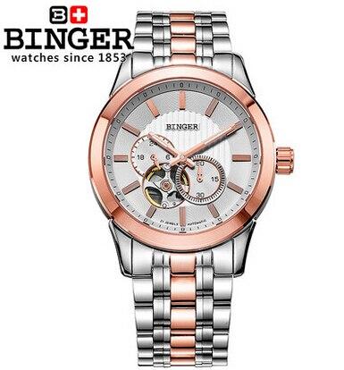 2016 Hot Sales Men Watches Top Brand Binger Luxury Wristwatches Military Steel Sports Auto Watch Rose