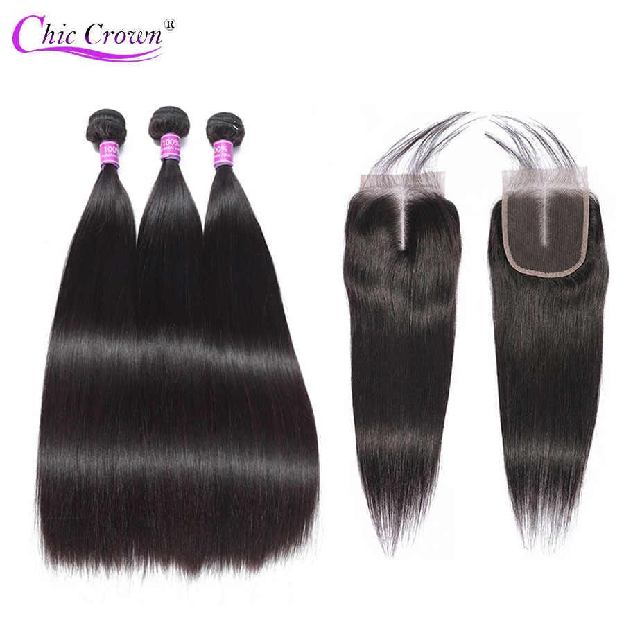 Peruvian Straight Hair Bundles With Closure Hair Weave Bundles With Lace Closure Chic Crown 100% Human Hair Bundles With Closure