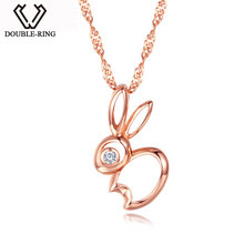 DOUBLE-R Animal Pendants Women 0.02ct Diamond 925 Sterling Silver Rabbit Rose Gold Necklaces Romantic Real Jewelry CAP03756SA-3