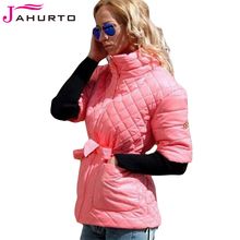 Jahurto Quilted Down Jacket Plus Size Winter Women Turtleneck Sweater Detachable Sleeve Patchwork Blet Bow Luxury Elegant Coat