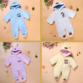 Newborn Baby Rompers Cartoon Hooded Winter Baby Clothing Thick Cotton Baby Girls Outfits Baby Boys Jumpsuit Infant Clothes V30
