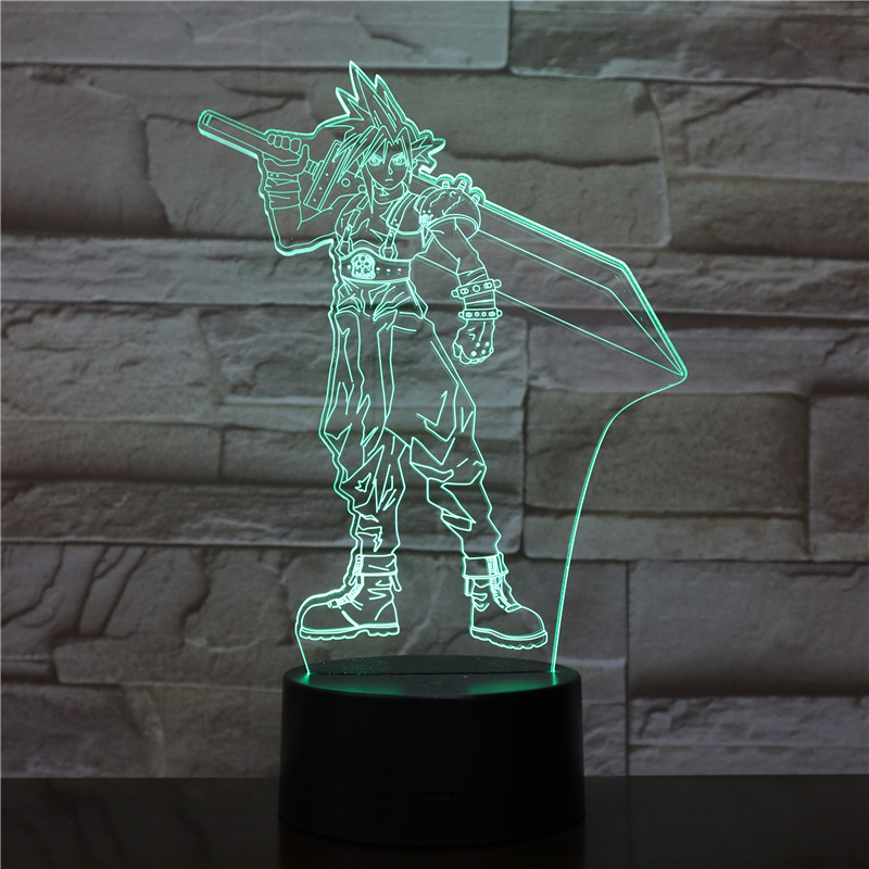 USB 3D LED Night Light Cloud Strife Figure Decoration Boys Child Kids Baby Gifts Game Final Fantasy 7 Table Lamp Bedside neon in LED Night Lights from Lights Lighting