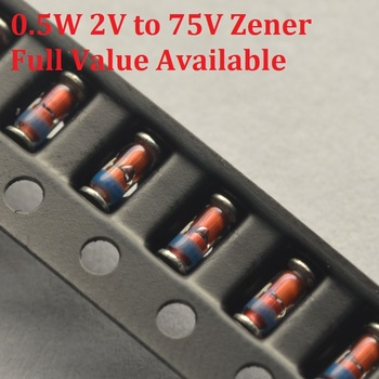 200PC 1 2W dioda zenera ZMM 2V0 2 2V 2 4V 2 7V 3V 3 6V 3 9V 4 3V 4 7V 5 1V 5 6V 6 2V 6 8V 7 5V 8 2V 2V2 2V4 2V7 3V3 3V LL34 0 5W tanie i dobre opinie YUFO-IC Nowy DIODE 1 3 3 V