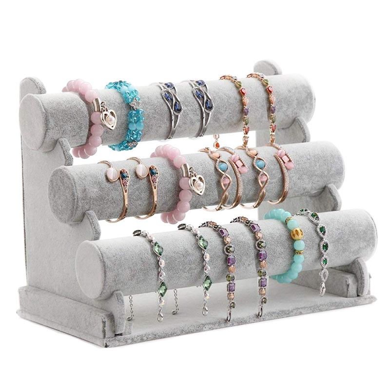 Triple Bracelet Holder Jewelry Display Stand Watch Bangle Bar Necklace Storage Organizer Gray