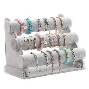 Image 1 - Triple Bracelet Holder Jewelry Display Stand Watch Bangle Bar Necklace Storage Organizer Gray