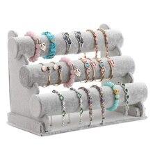 Triple porte Bracelet bijoux présentoir montre Bracelet barre collier rangement organisateur gris