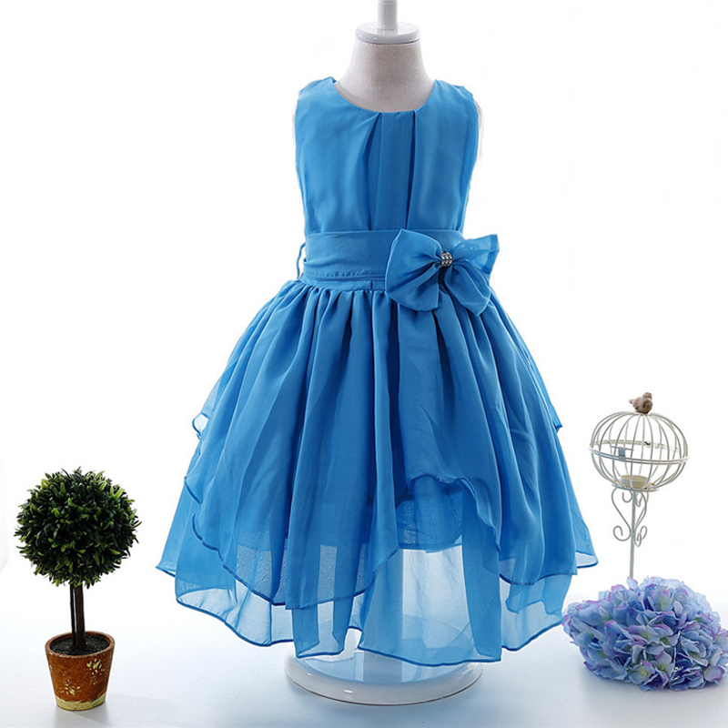 Kids Chiffon Irregular Princess Bow Party Dress Wedding Birthday Girls Dresses Tutu Style Princess Clothes for Children 3-12T new summer christmas costume bow girl party dress wedding birthday girls dresses tutu style princess clothes for children 3 8t