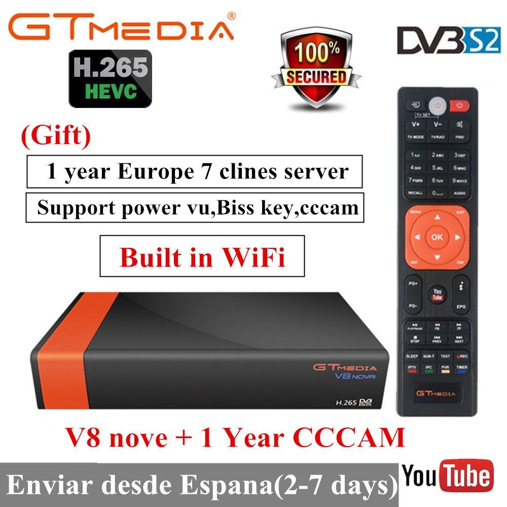 GTmedia V8 Nova construit WIFI DVB-S2 Freesat V9 Super H.265 récepteur de télévision par Satellite récepteur avec Europe 7 lignes pour 2 ans