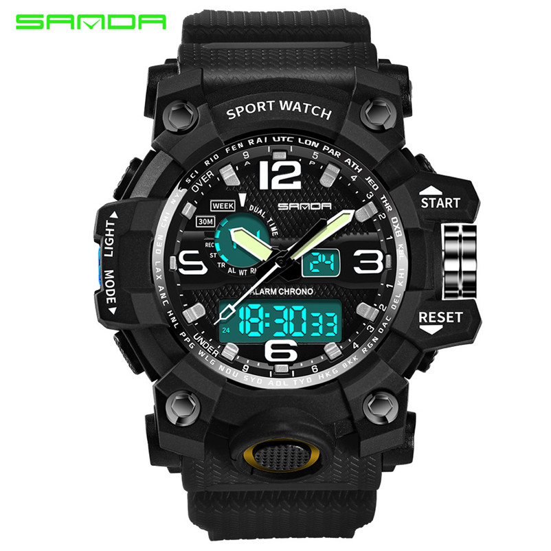 High Quality Watch Colourful Sport Watch Luxury Double Display Cold Light  Electronic Elegant Waterproof Relogio Masculino 2f7224077191b