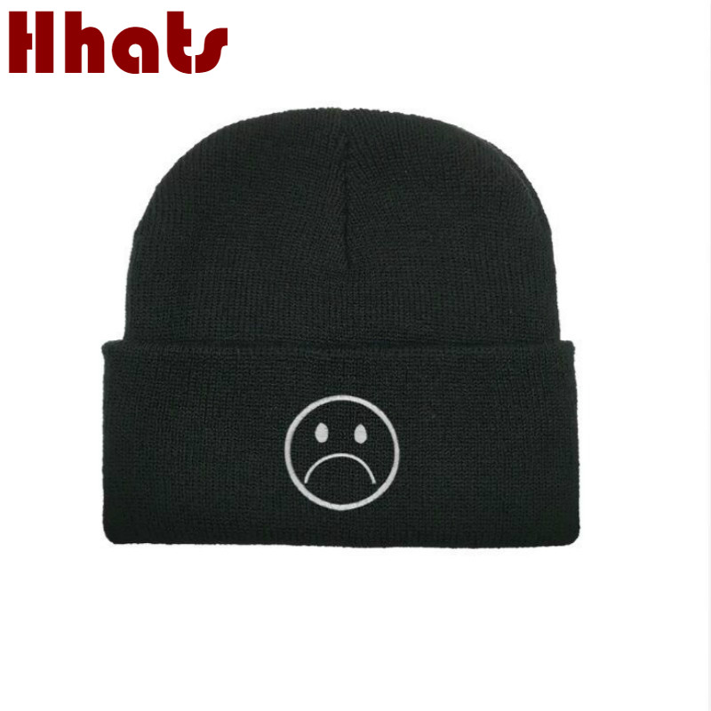 Sad Boy Womens Knitted Hats Cry Face Embroidery Winter Hats For Boys Hip Hop Mens Beanie Sadboy Skullies Beanie Skullcap
