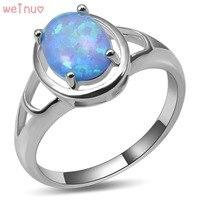 Weinuo Blue Fire Opal Pierścień 925 Sterling Silver Najwyższa Jakość Fantazyjne biżuteria Ślubna Pierścionek Rozmiar 5 6 7 8 9 10 11 A440