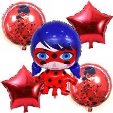 5 pcs Joaninha Milagrosa foil balões infláveis brinquedos joaninha Bonito menina balão fontes do partido de aniversário decorações do partido crianças