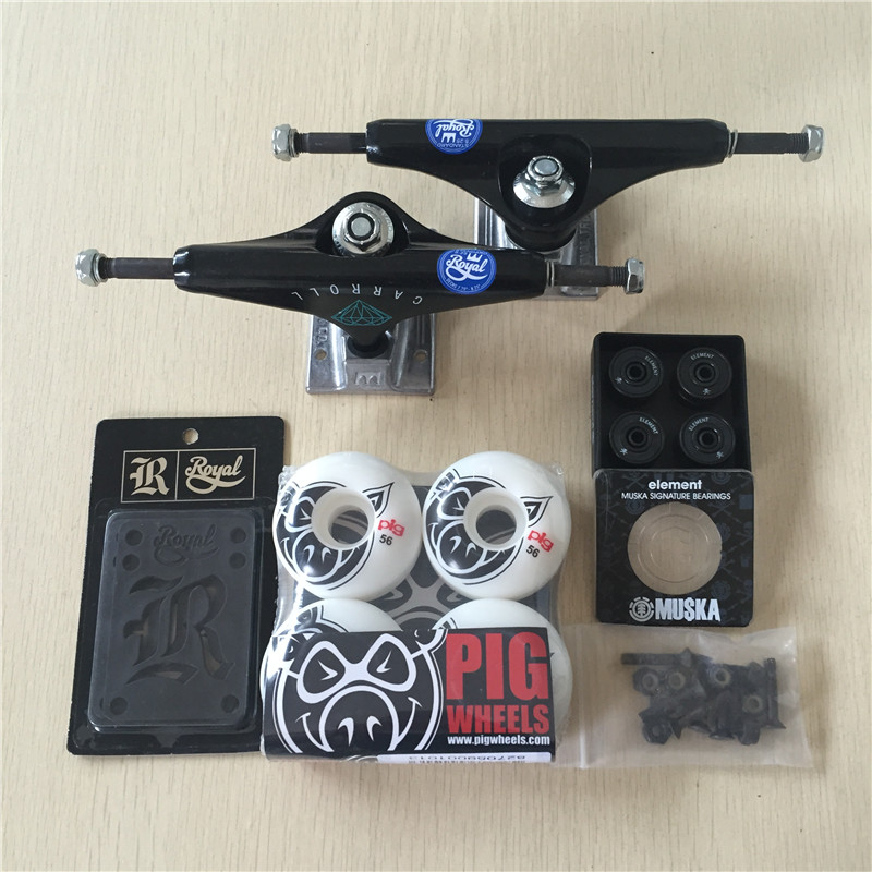 2016 Pro Skate Board Original Royal Aluminum 5.25 Skateboard Trucks And PIG PU Skate Wheels ELEMENT ABEC-7 Bearings
