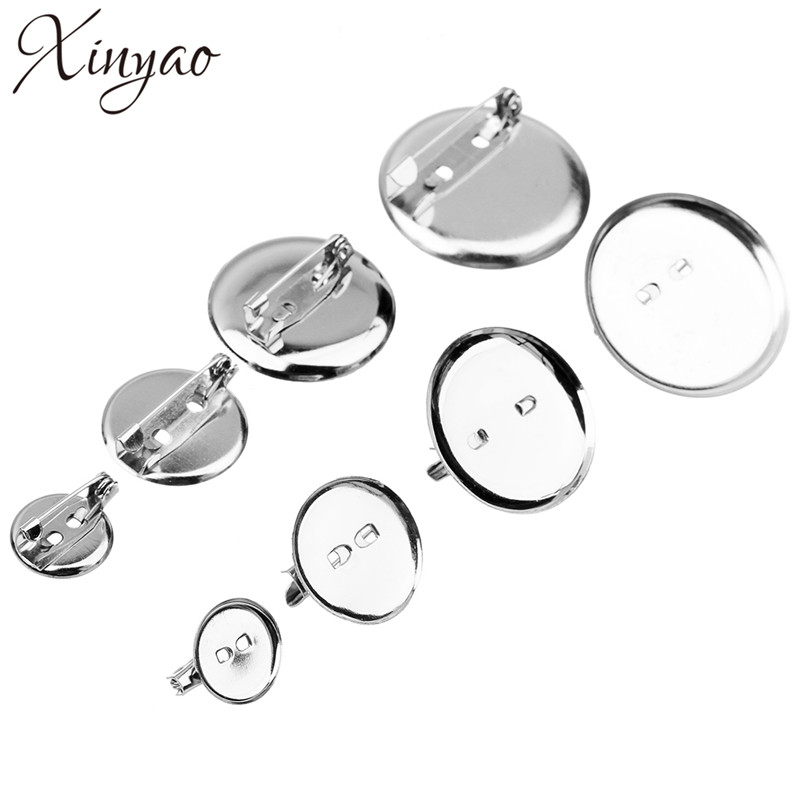 50pcs Rhodium Color 15 20 25 30 Mm Round Brooch Base Cabochon Blanks Trays With Brooch Pins Cameo Cabochon Base Setting F1849