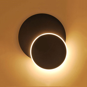 LED Moon Eclipse Round Wall Light Rotatable Bedside Light Black/White Lampshade Wall Lamp Modern Wall Night Lights for Kid Decor