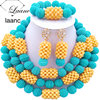 Laanc Latest Teal Green Beige African Beads Nigerian Bridal Wedding Party Jewelry Sets 2017 Free Shipping