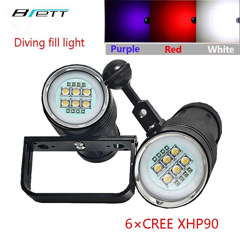 Uv lampe de poche plongée lumière 6 XHP90 + 4 Rouge + 4 Violet LED photographie remplir lumière Plongée torche led